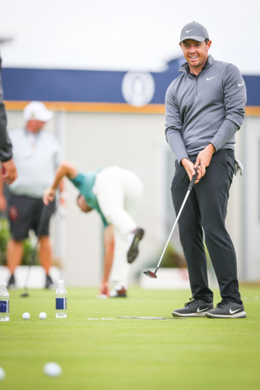 Rory McIlroy on the putting green. Picture: Kris Miller.