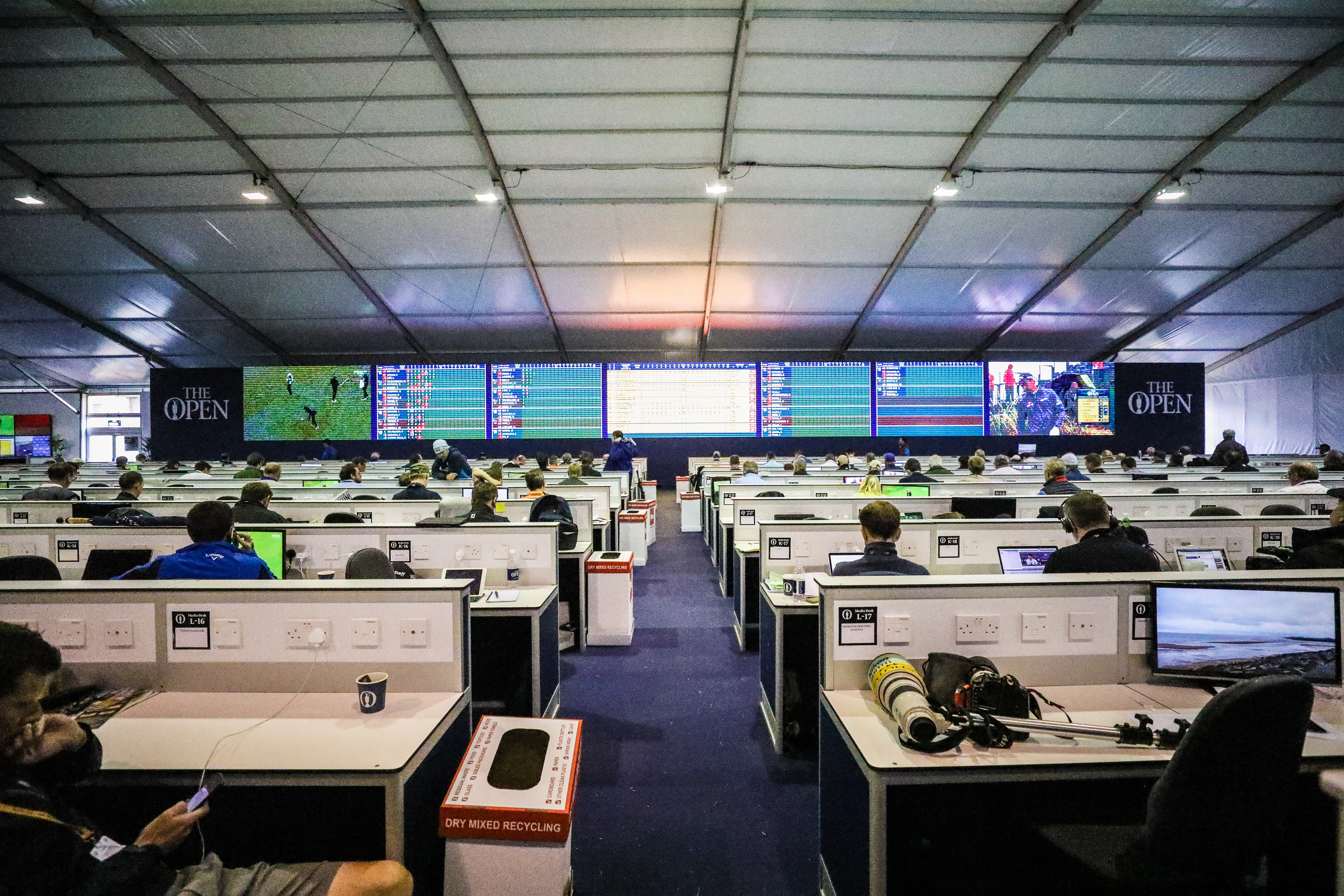 A busy media centre at the Open