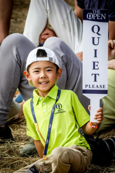 A young golf fan at the 2018 Open.