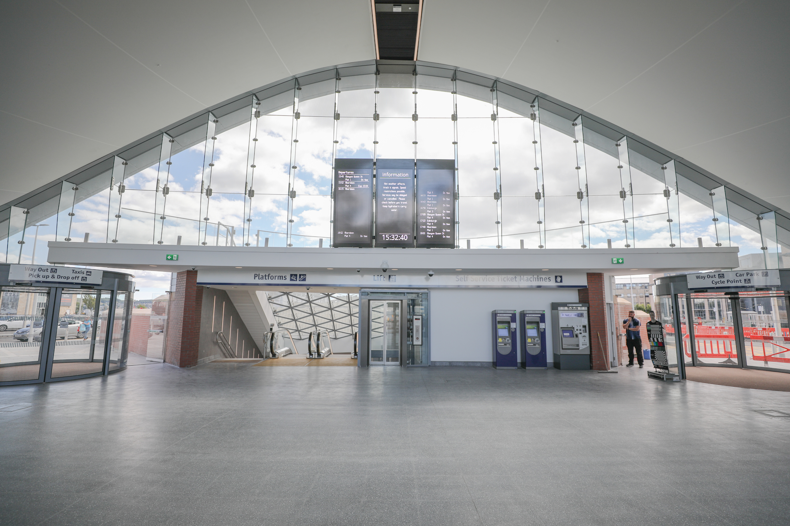 The new entrance to Dundee railway station, with the lift which was out of order to the right hand side of the stairs.
