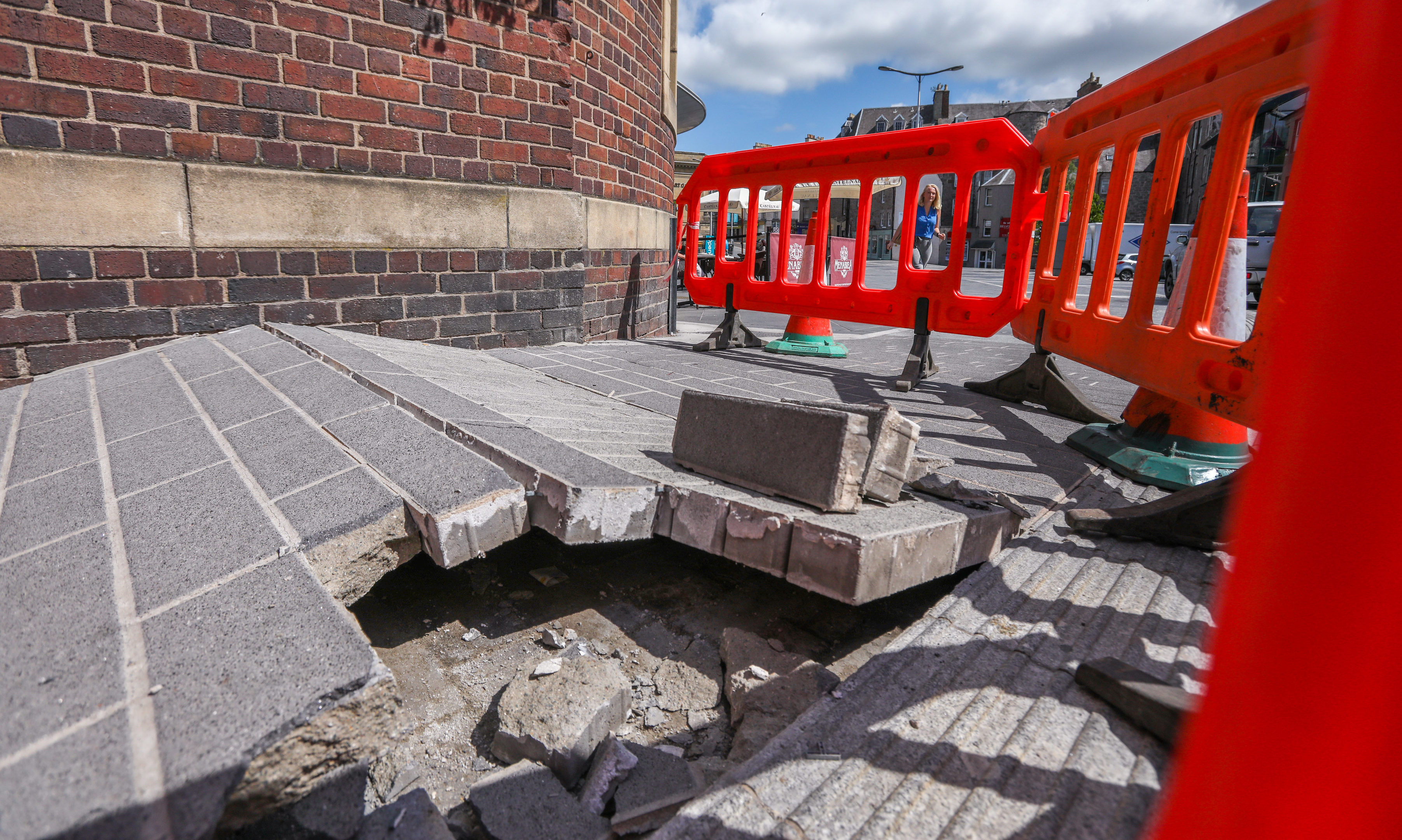 Barriers around the buckled pavement on Mill Street, Perth