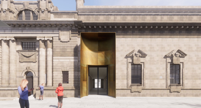 New graphic showing gold- coloured entrance door.
