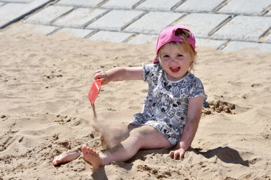 Naomi Tait, 3, enjoyed the sunny weather this week.