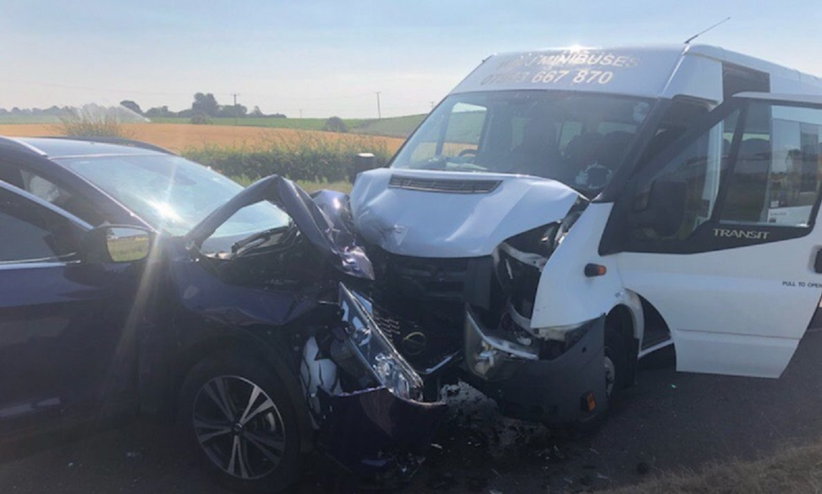 The crash involving a minibus and a car on the A92.
