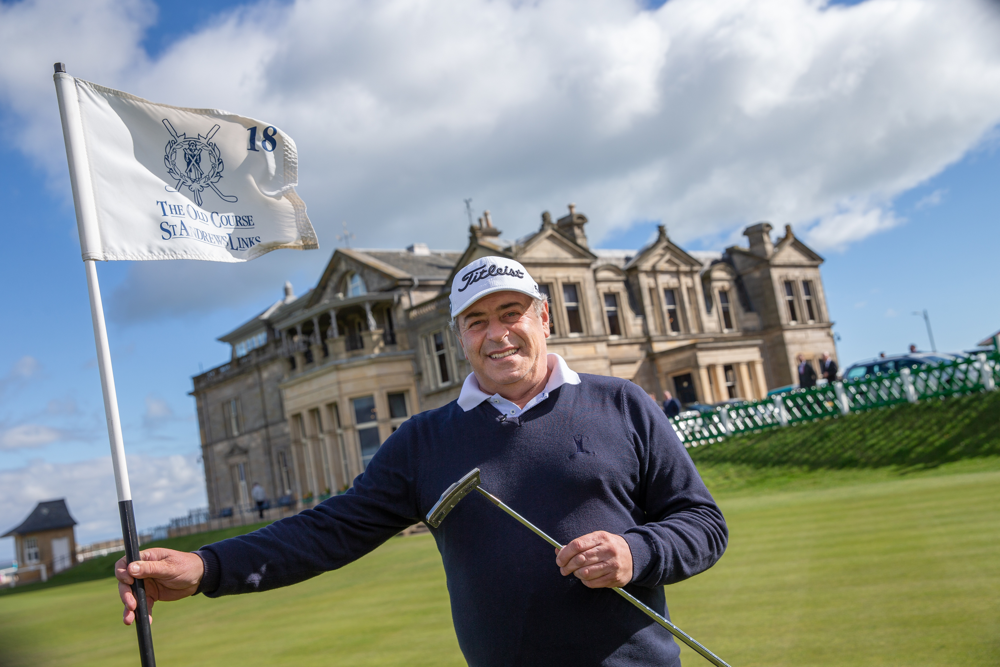 Constantino Rocca who famously putted from the valley of sin at the 18th hole at St Andrews in 1996 to force a playoff with John Daly in the Open Championship, pictured in front of the iconic R&A clubhouse.