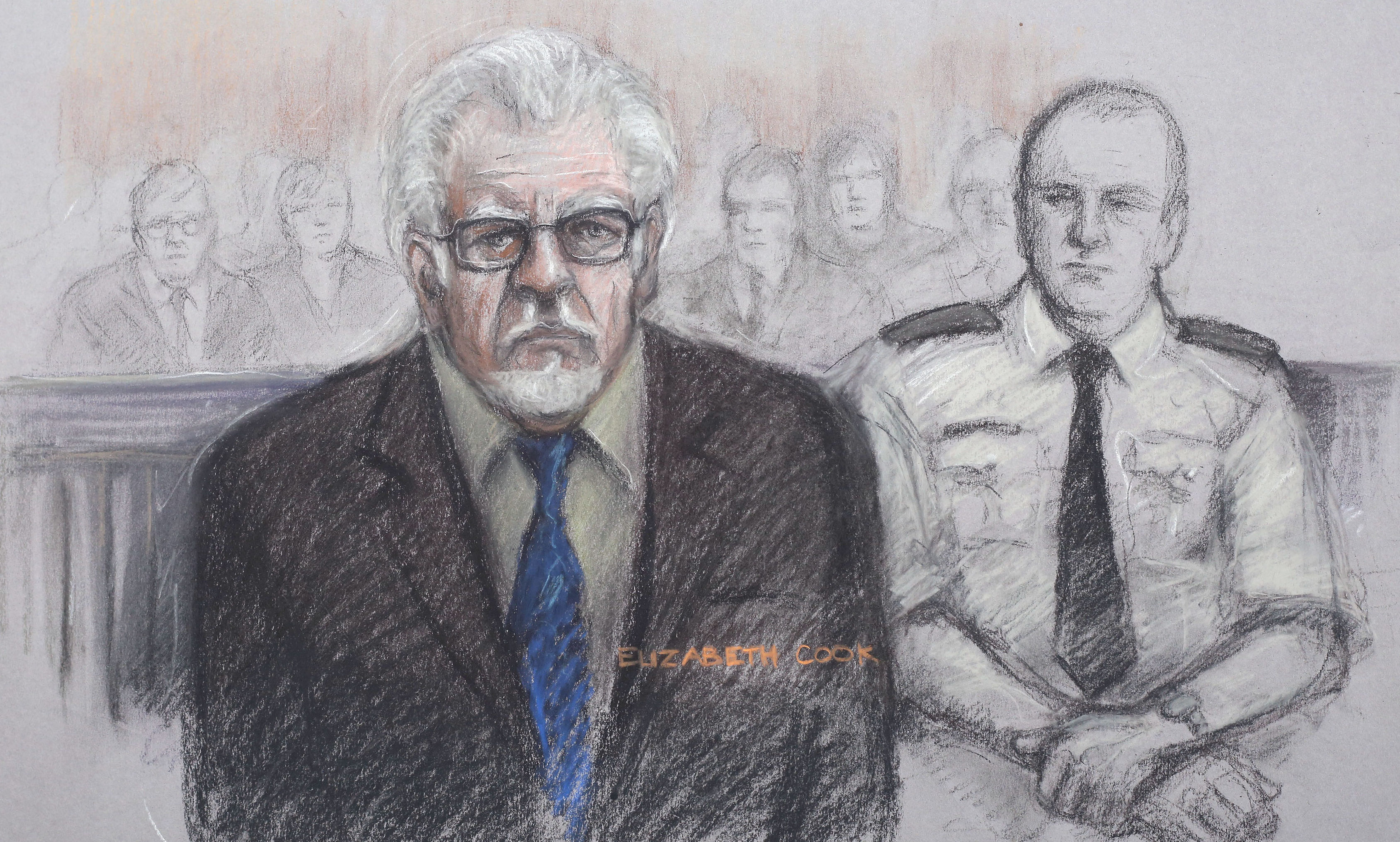Court artist sketch by Elizabeth Cook of Rolf Harris at Southwark Crown Court in London.