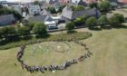 Residents spelled out their opposition to a care home on Bankie Park
