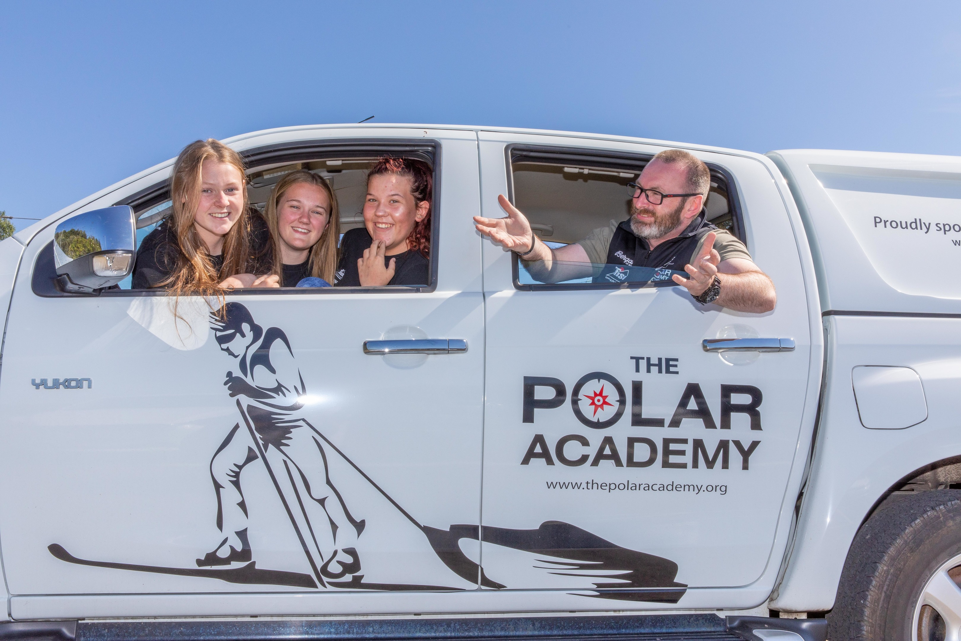 Craig Mathieson (Polar Academy) with Lochgelly High Pupils, Carla Masterton, Hannah Reid and Lauren Scott