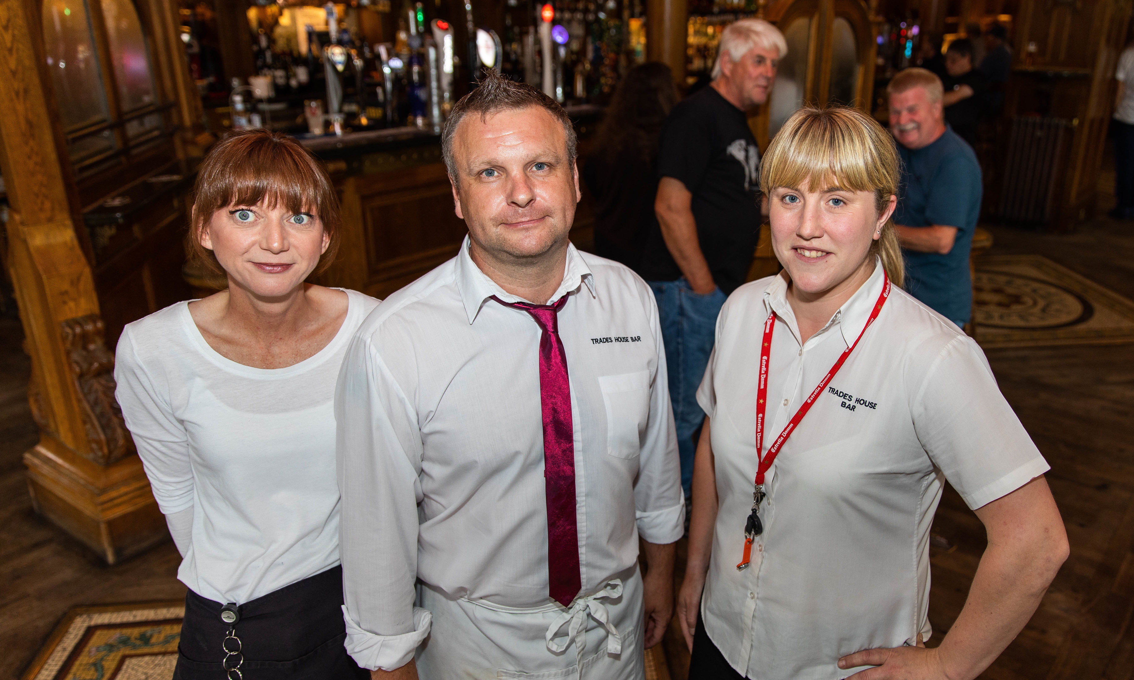 Trades bar staff, Paula Chevalier, Billy Meek & assistant manager Jackie Adam.