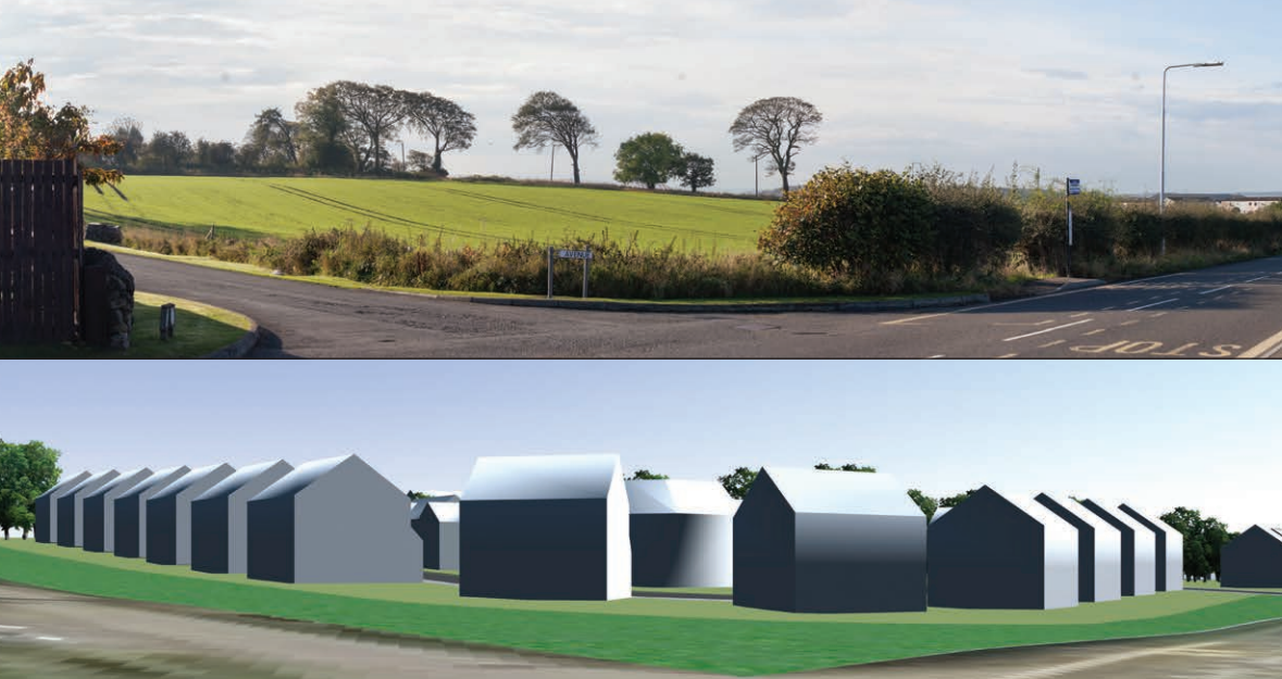 Before and after views of Taylor Wimpey's development.