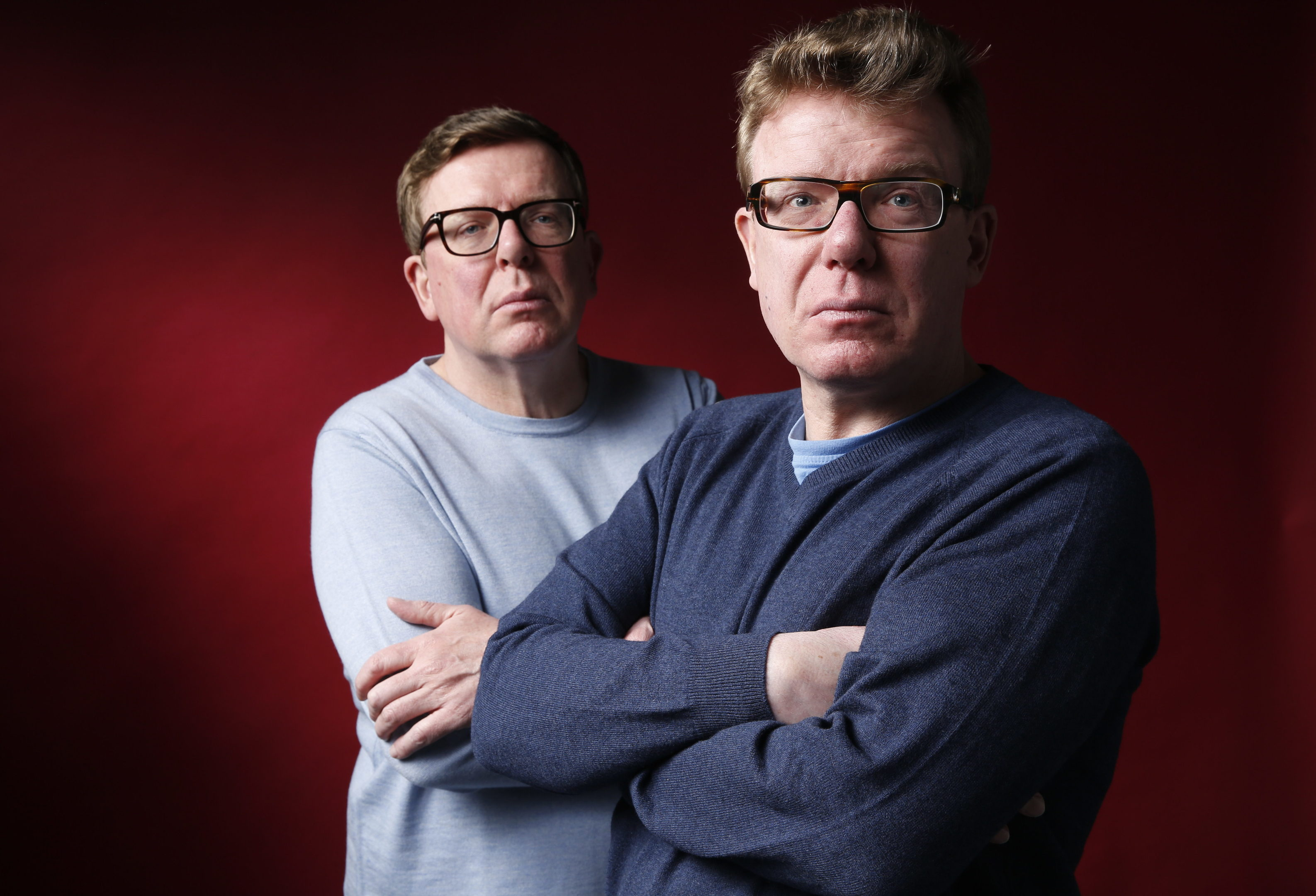 Craig and Charlie Reid, The Proclaimers. Seen here in studio shoot in Leith.