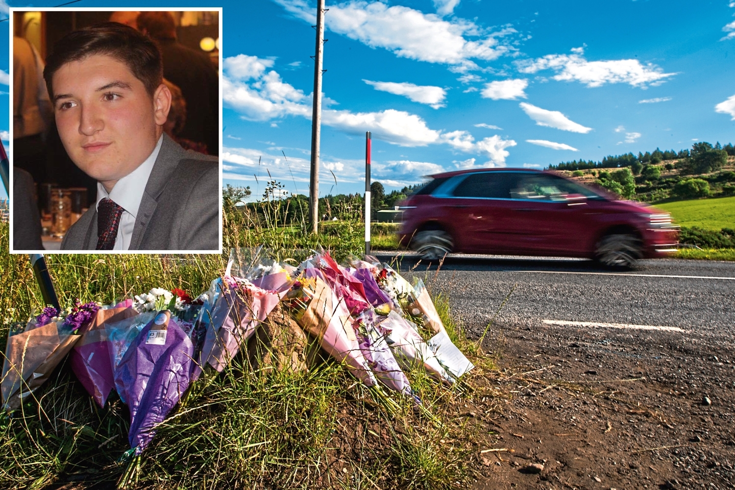 Flowers and messages left in tribute to Billy Haggart (inset) near the accident scene.