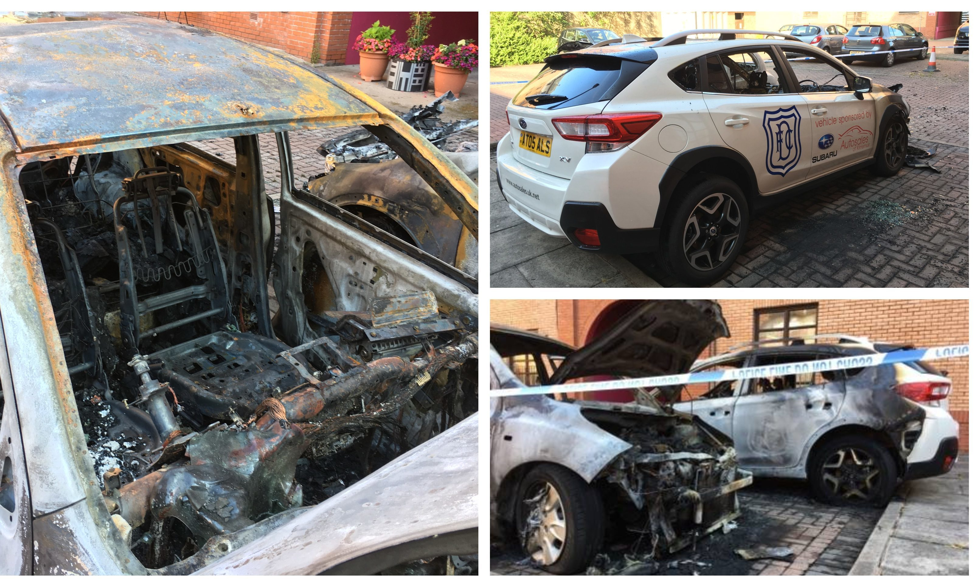 Some of the vehicles set on fire in Dundee overnight.
