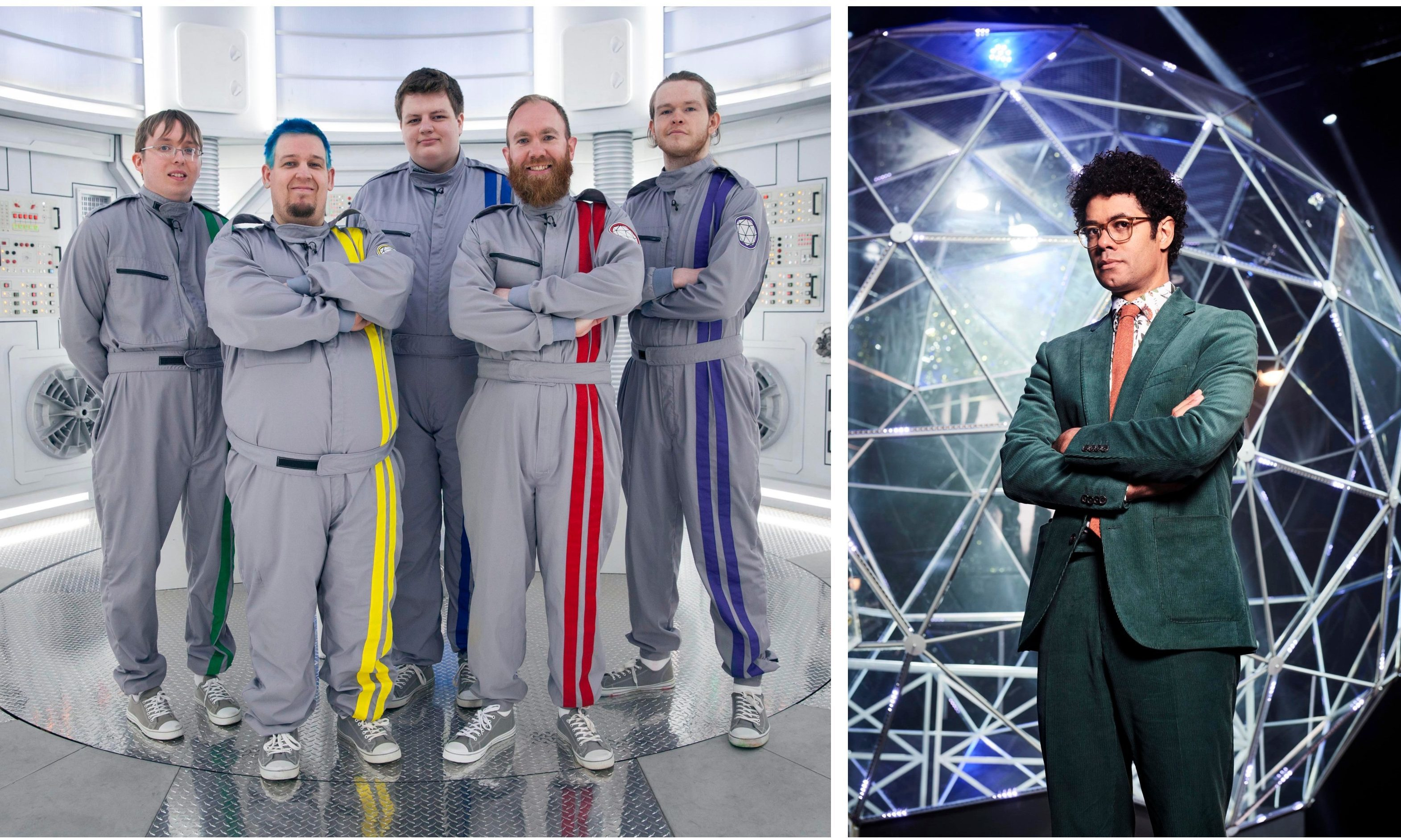 """""""The Gamers"""". From left: William Stephen, Martyn Shaw, Ross Gauld, Meil McGregor and Mathew Tosh. Right: Presenter Richard Ayoade."""