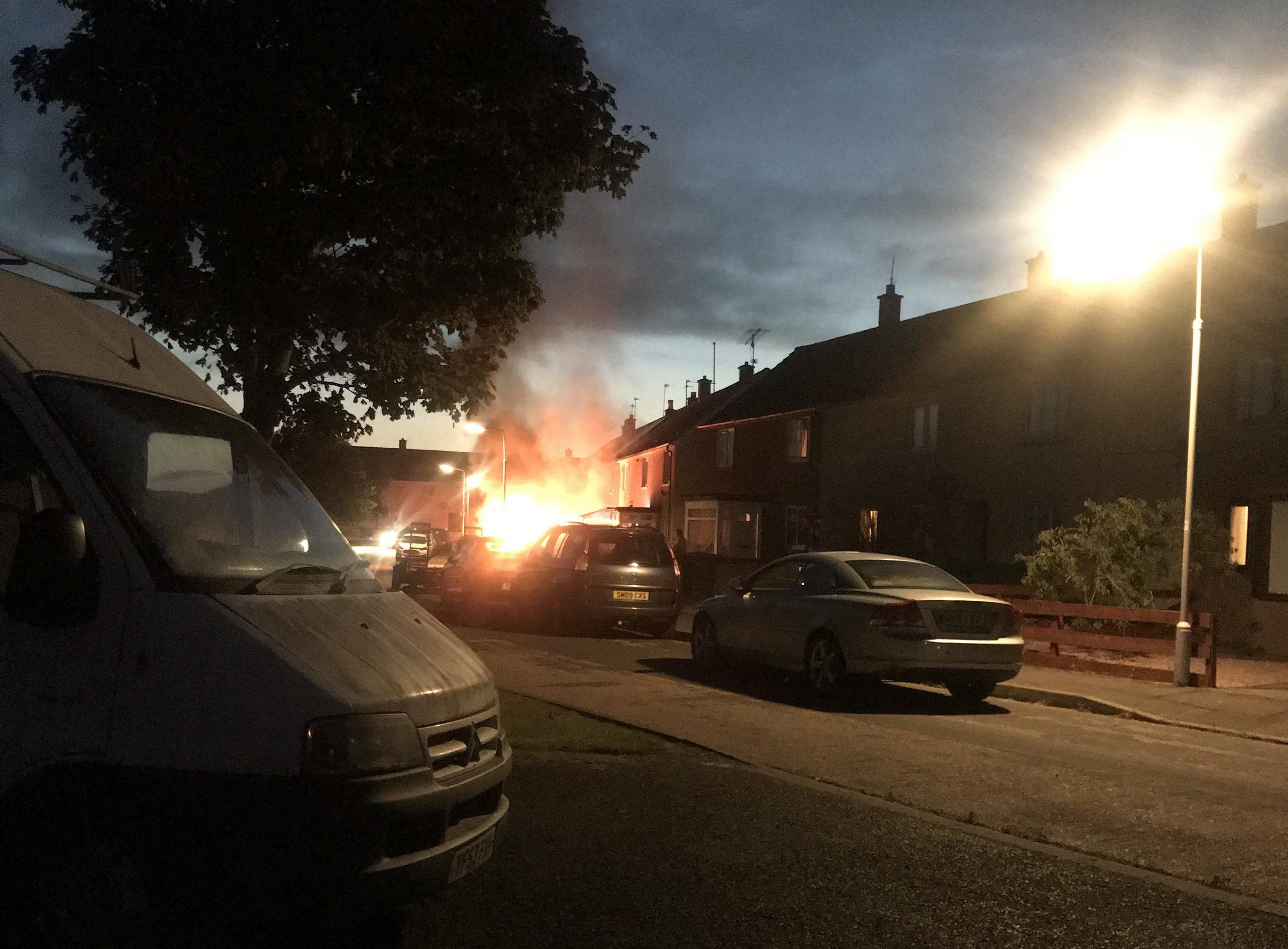 A van, thought to be a Transit, was ablaze on Monday night.