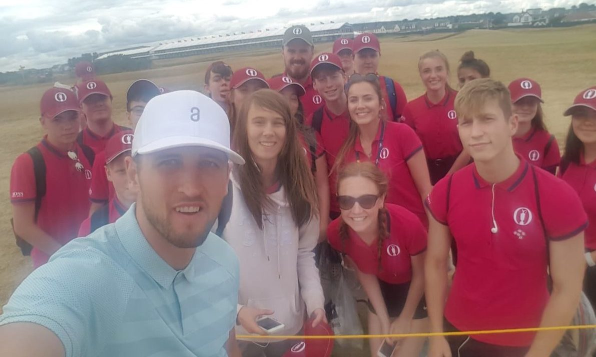 Harry Kane was in Carnoustie for the Open.