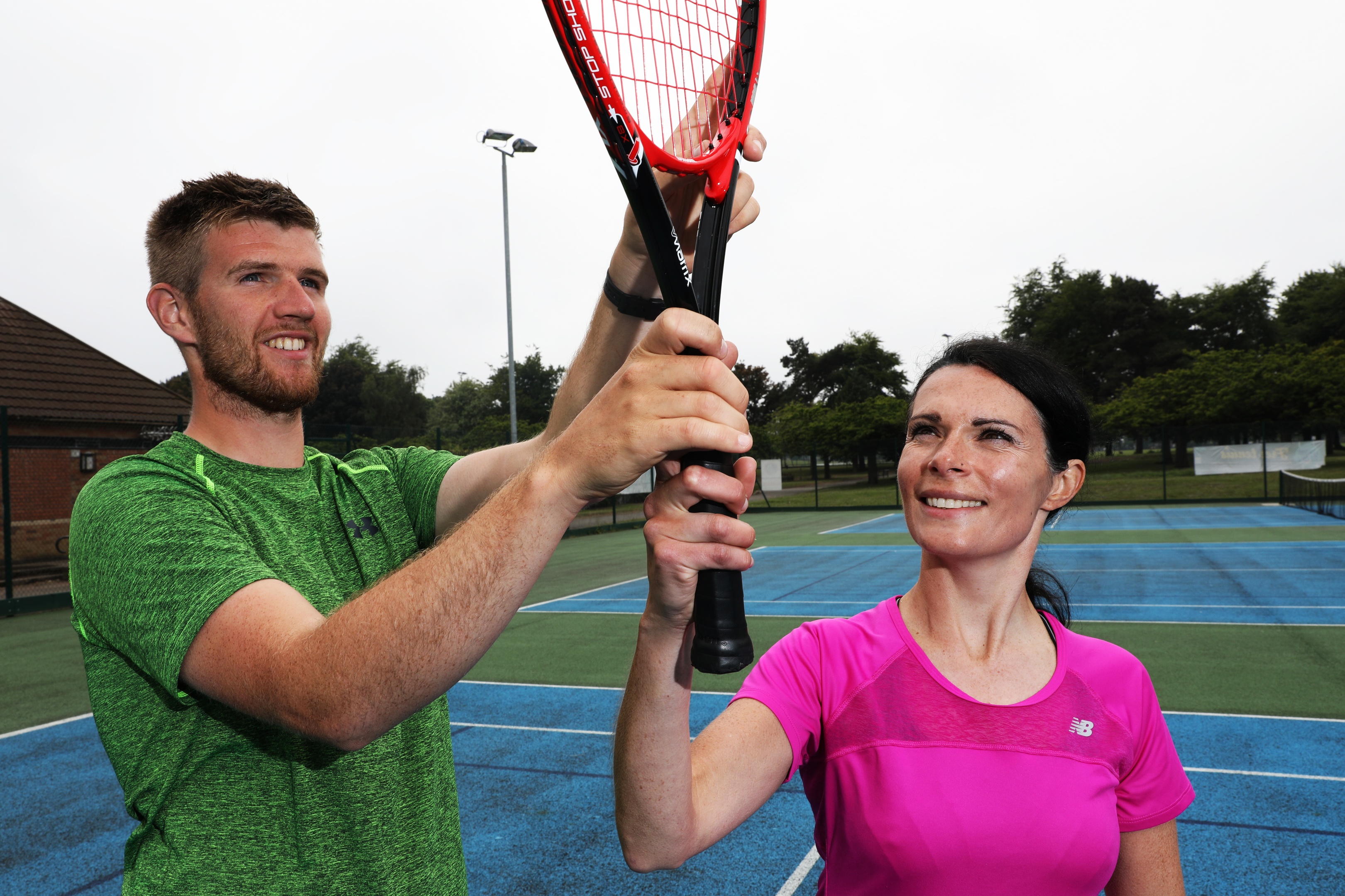 Tennis coach David Anderson with Gayle Ritchie.
