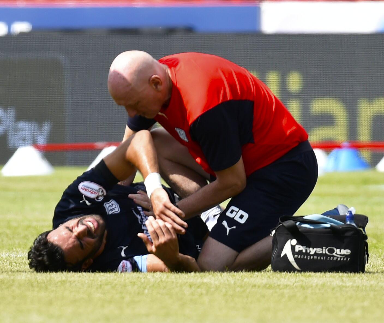 Sofien Moussa gets treatment on Sunday.