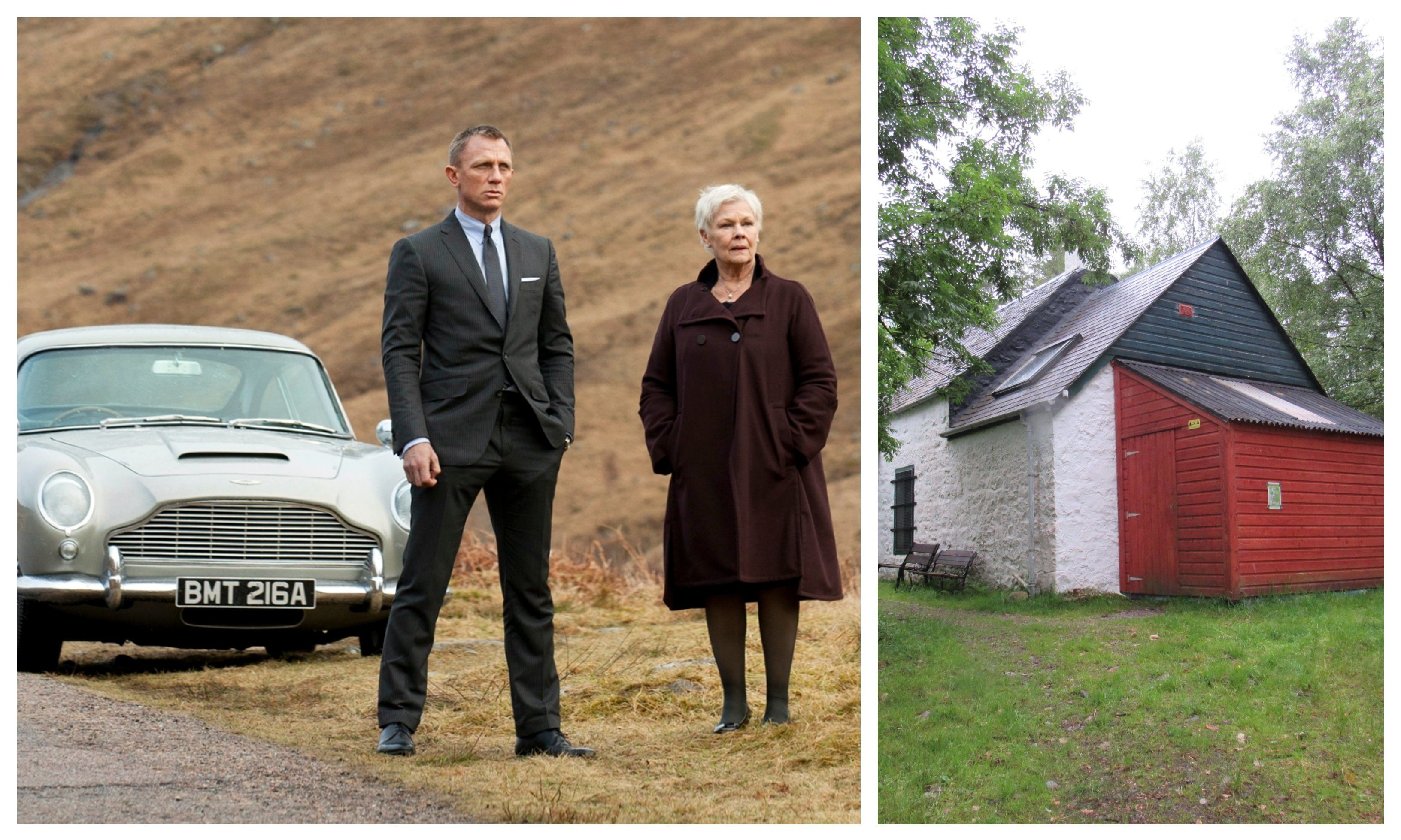 A shot from Skyfall and , right, the hut in question.