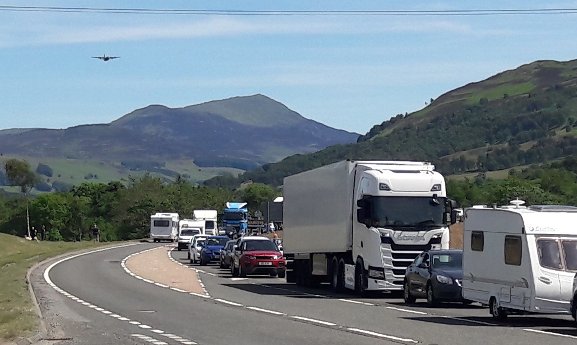 Traffic building up following a previous incident on the A9 near House of Bruar.