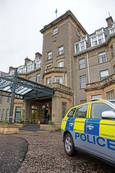 Police presence at the Gleneagles Hotel following the 2017 robbery.