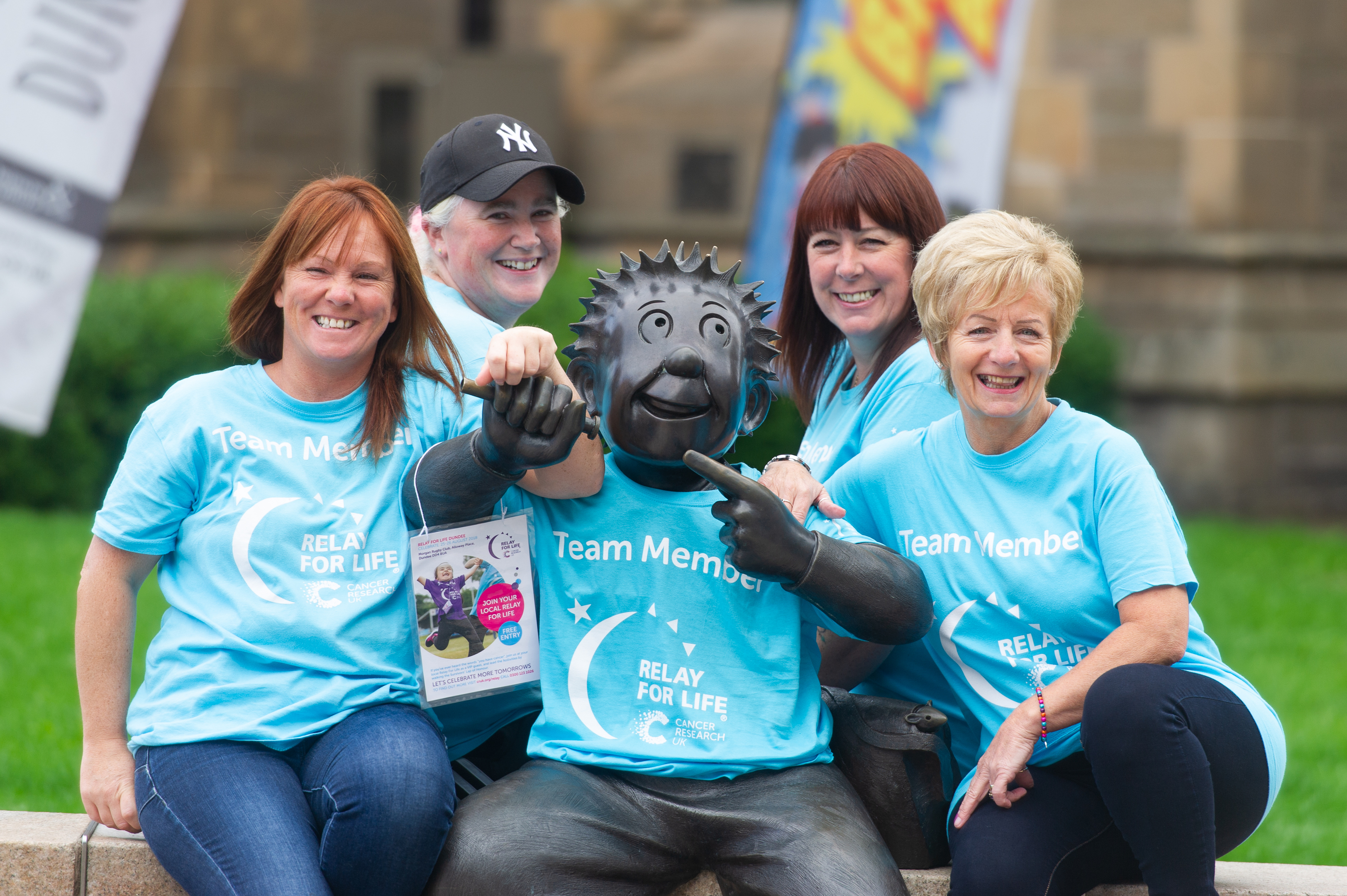 Some of the organisers of this years Relay for Life in Dundee - l to r - Leanda Innes, Moira Preston, Jacki Hughes and Joan Dyer, with Wullie on Albert Square.