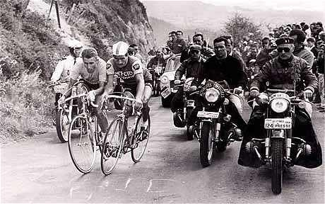 Anquetil and Poulidor battle it out on the slopes of the Puy de Dome.