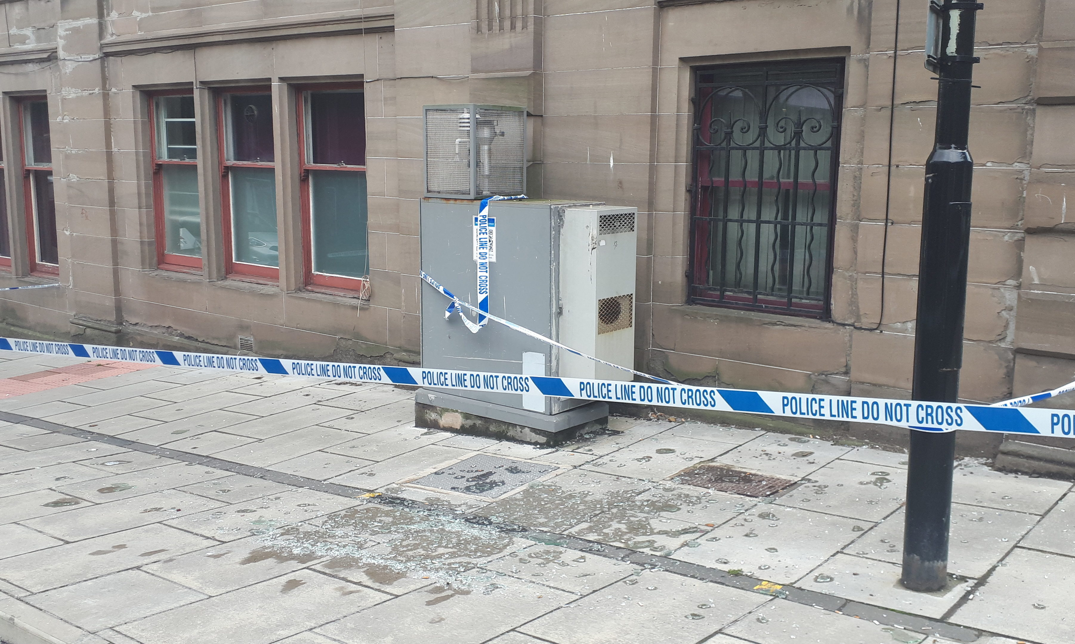 Large shards of glass fell onto Meadowside