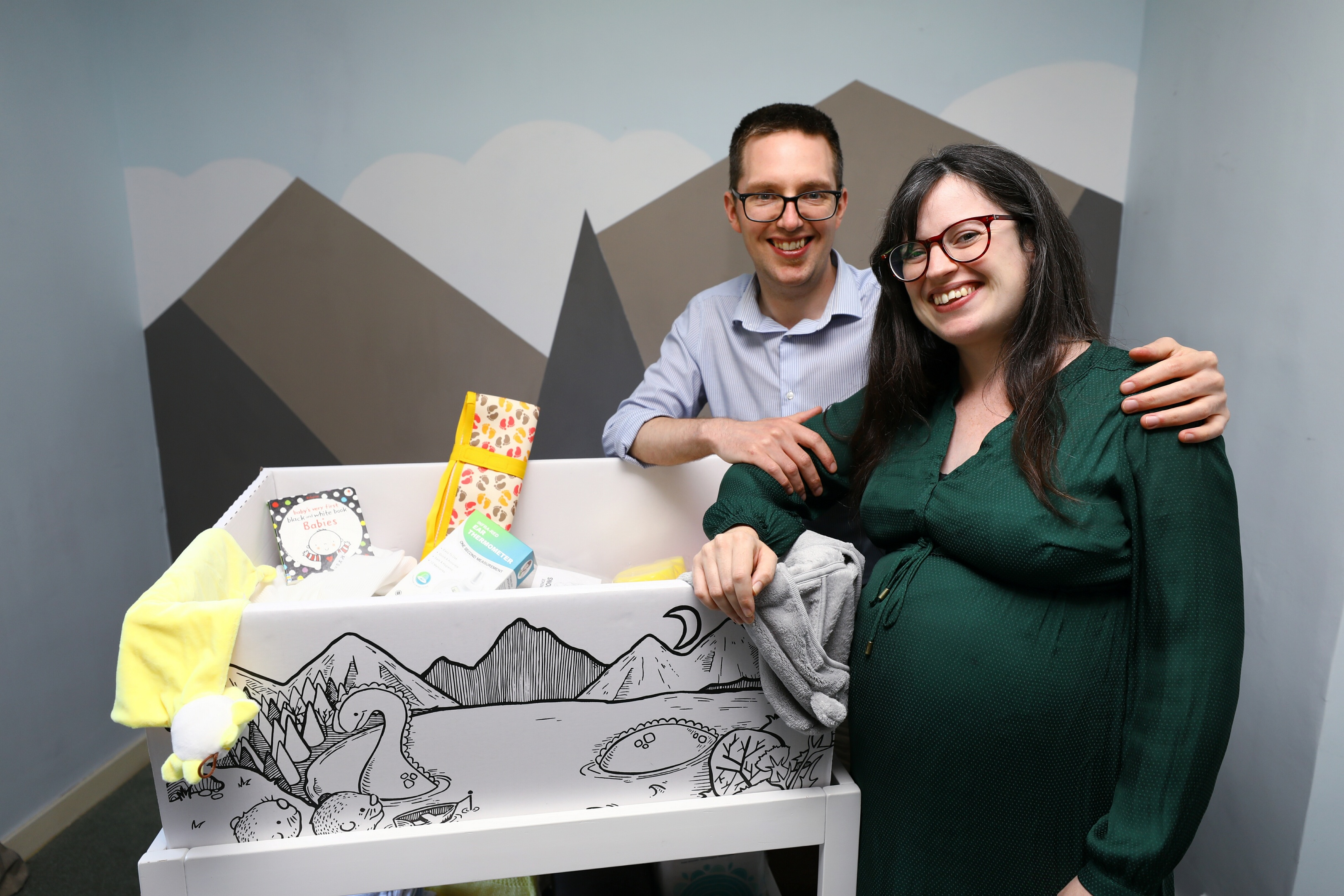 Gary Phillips and Anna McFarlane received Scotland's 50,000th baby box.