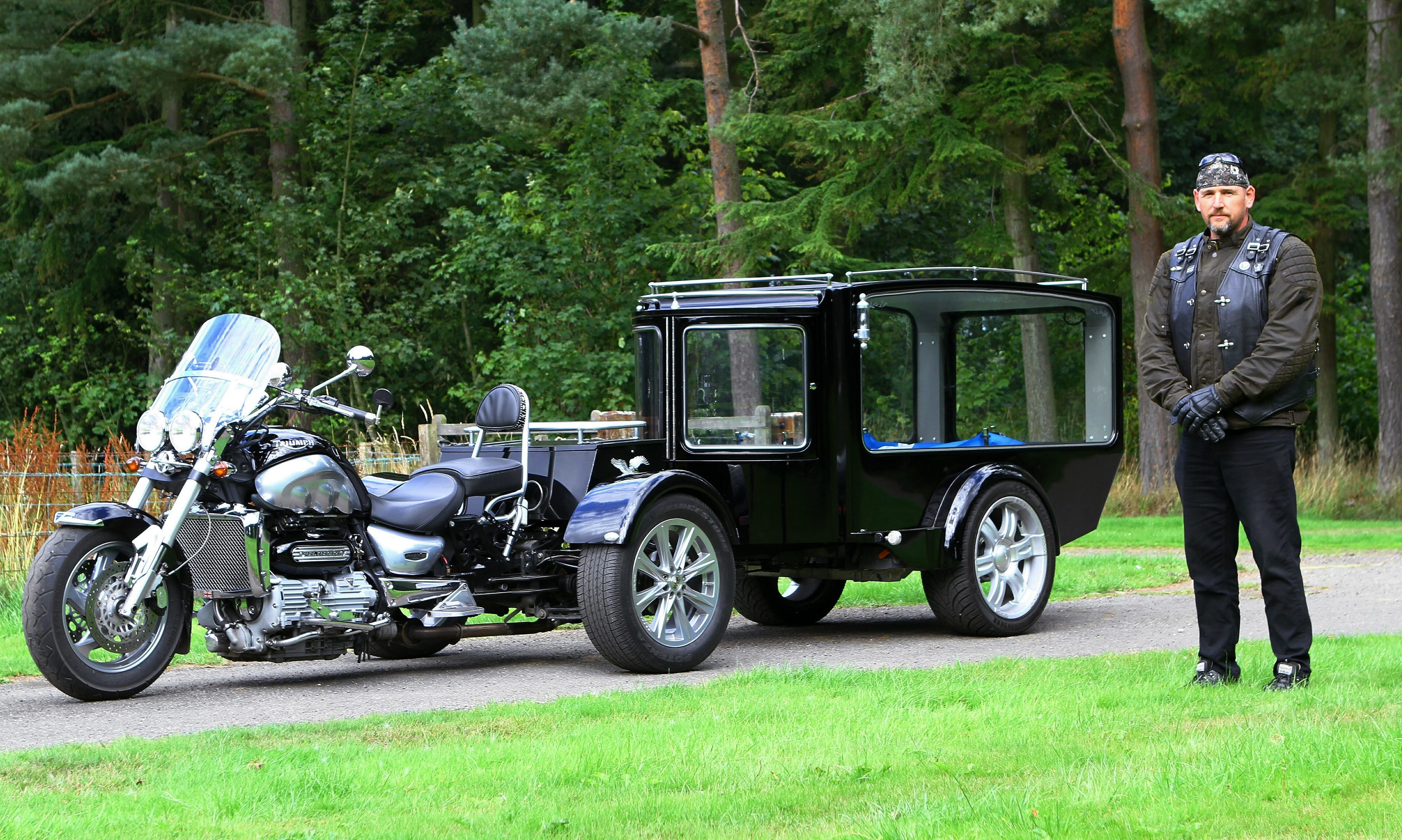 Mike Devery with the trike hearse of the Alternative Carriage Company in Carnoustie.