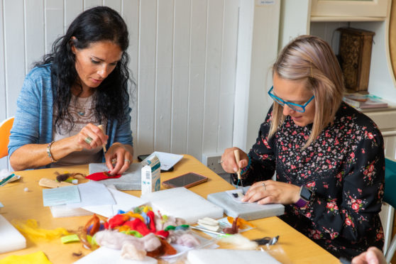 Gayle takes part in a needle felting class run by Sarah Urie.