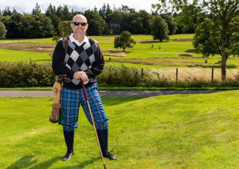 Jason Connery in costume for The Golf Explorers at the Kingarrock Hickory Golf Course near Cupar