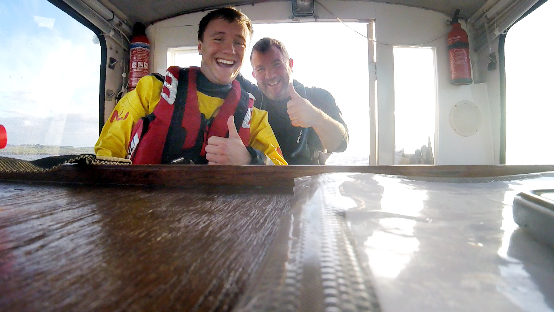Anstruther Lifeboat volunteer George Hodge (left) with dad Brian.
