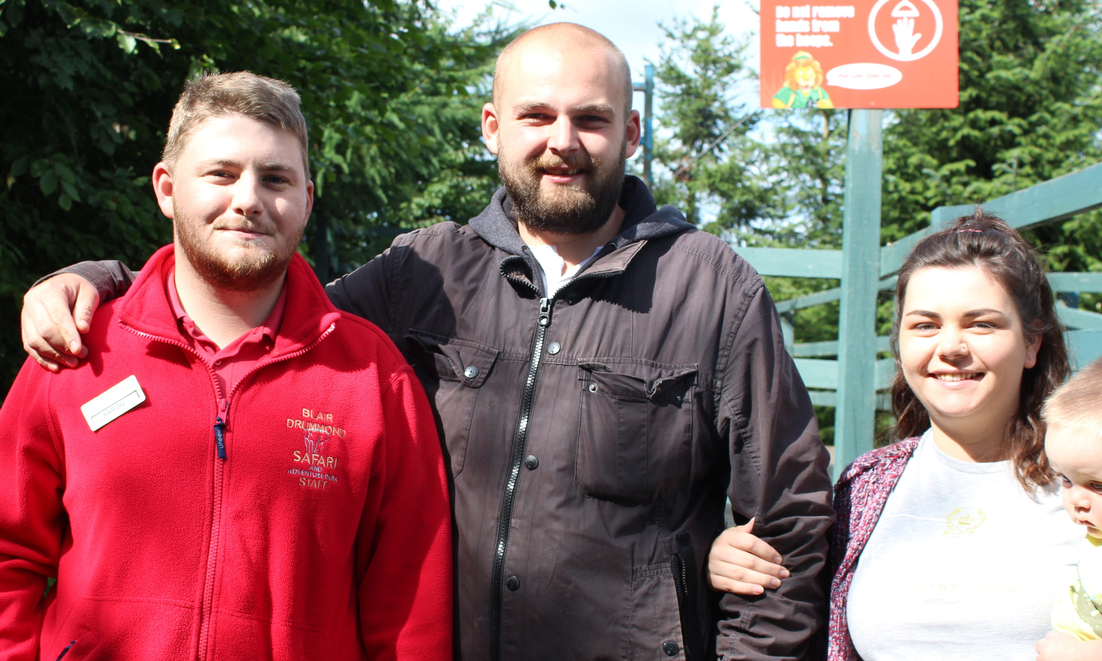 Safari park worker Aaron Jack with father Tom Embleton and his wife Nina Embleton.