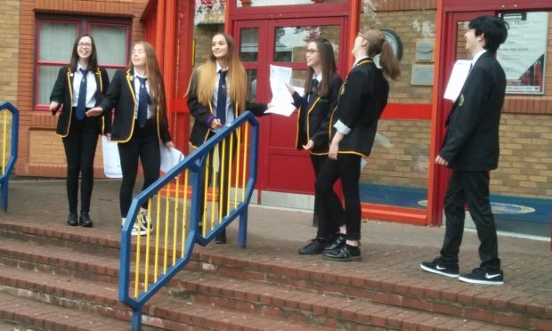 Pupils at Kirkcaldy High School after learning their results.