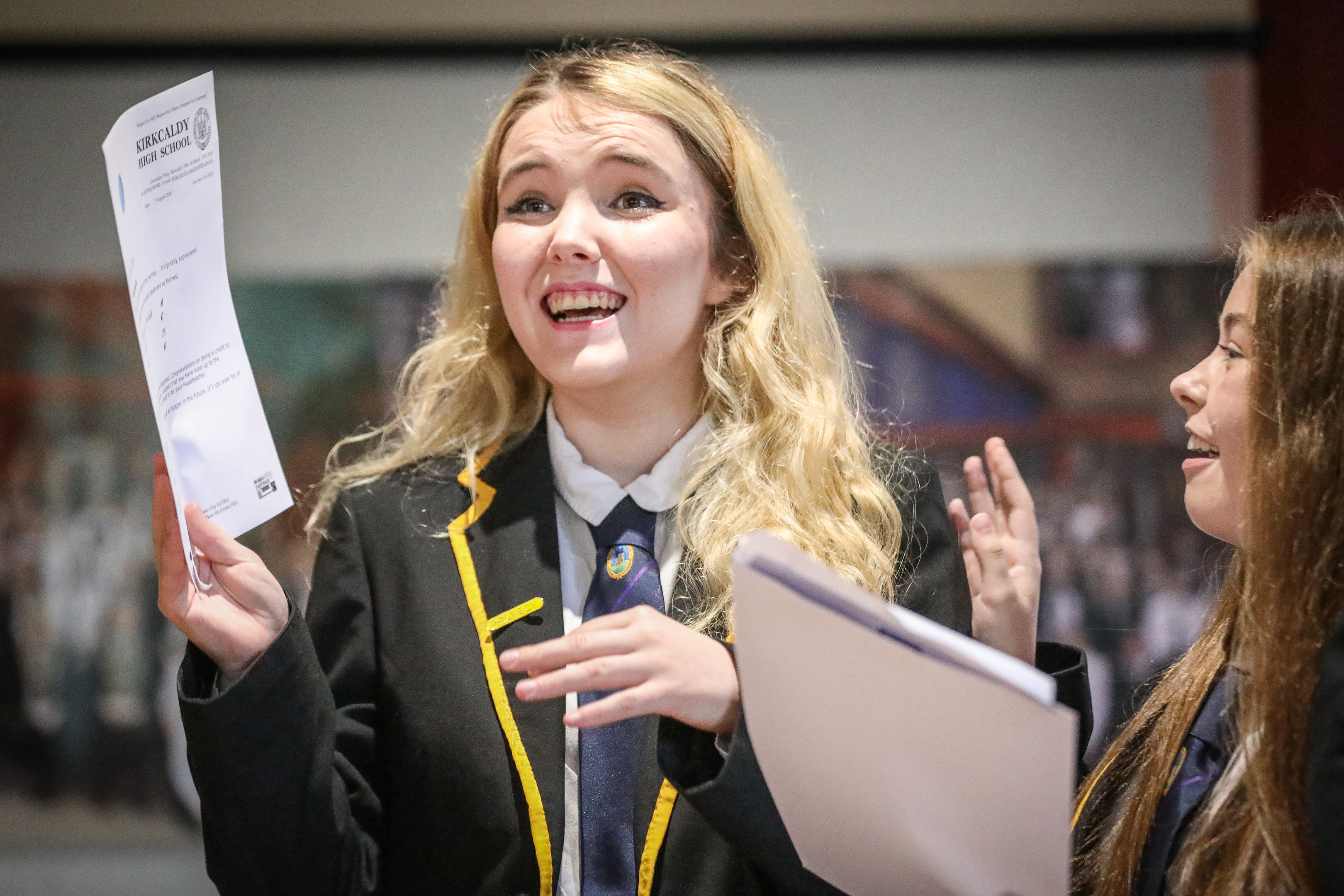 Taylor Williams reacting after opening her results.