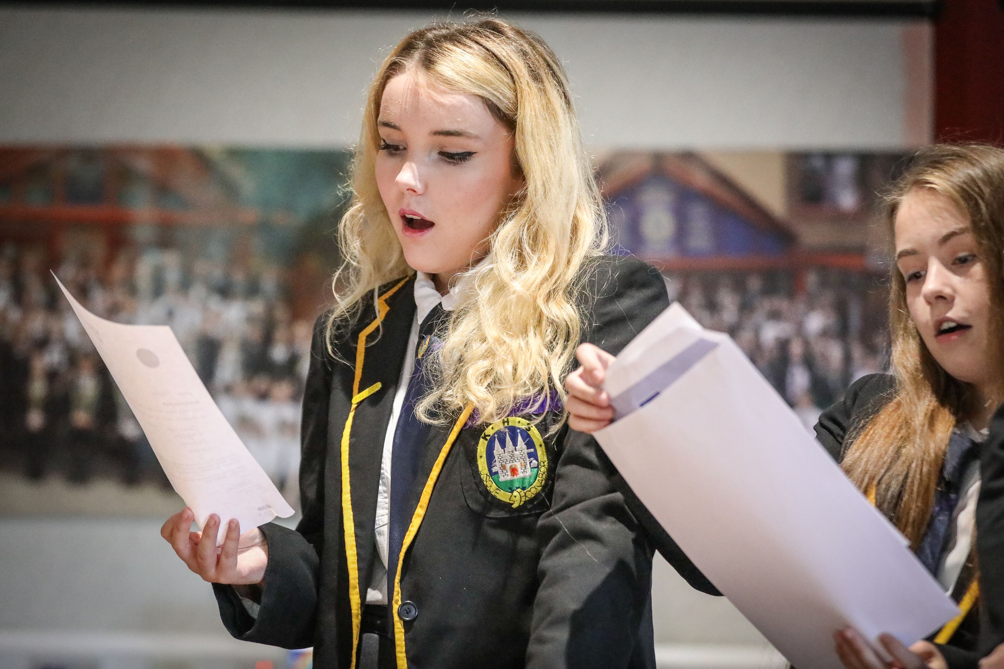 Taylor Williams (who got results to get her in to St Andrews uni) at Kirkcaldy High reacting after opening results in front of pupils teachers and parents.