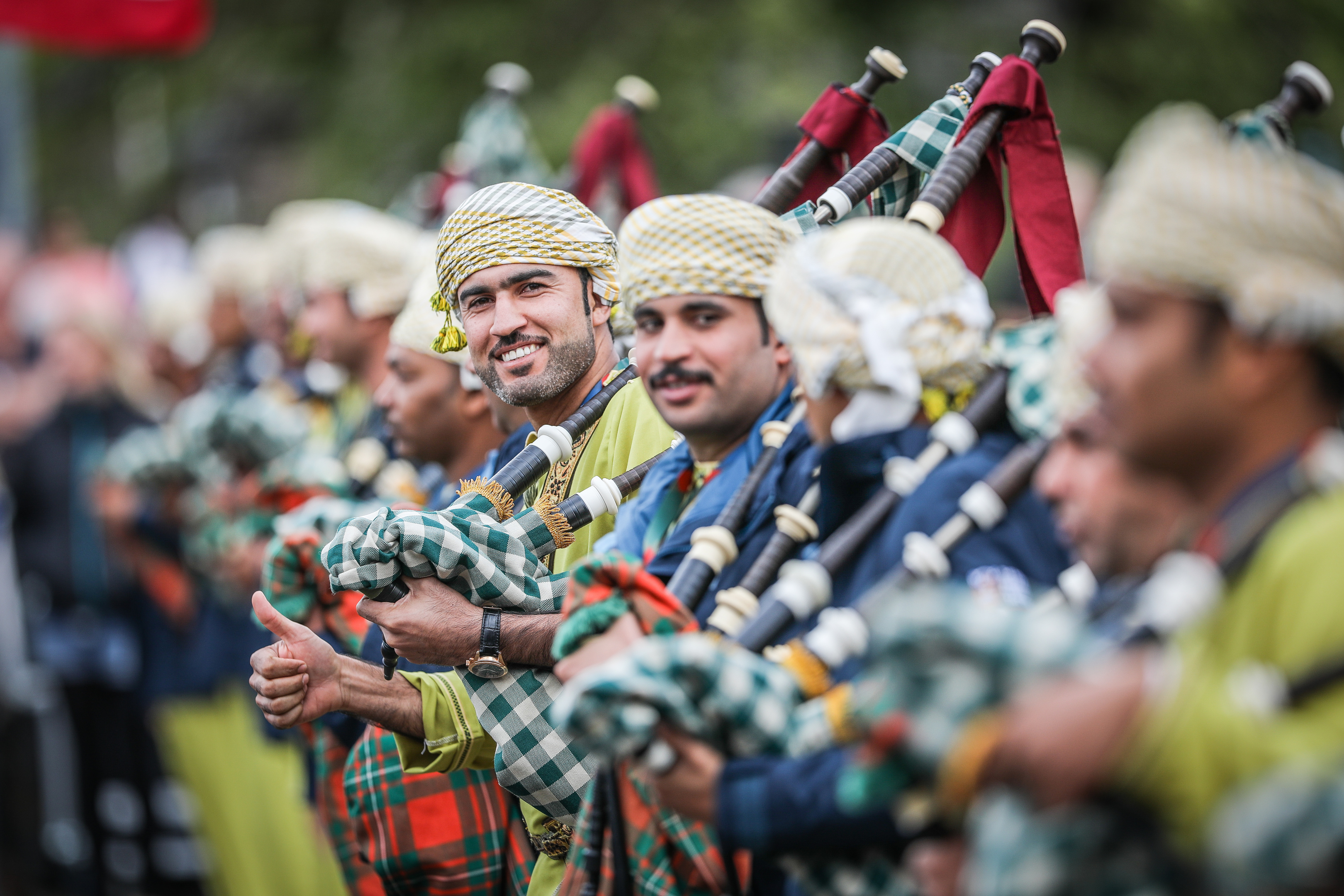Pipers from Oman at the rehearsal.