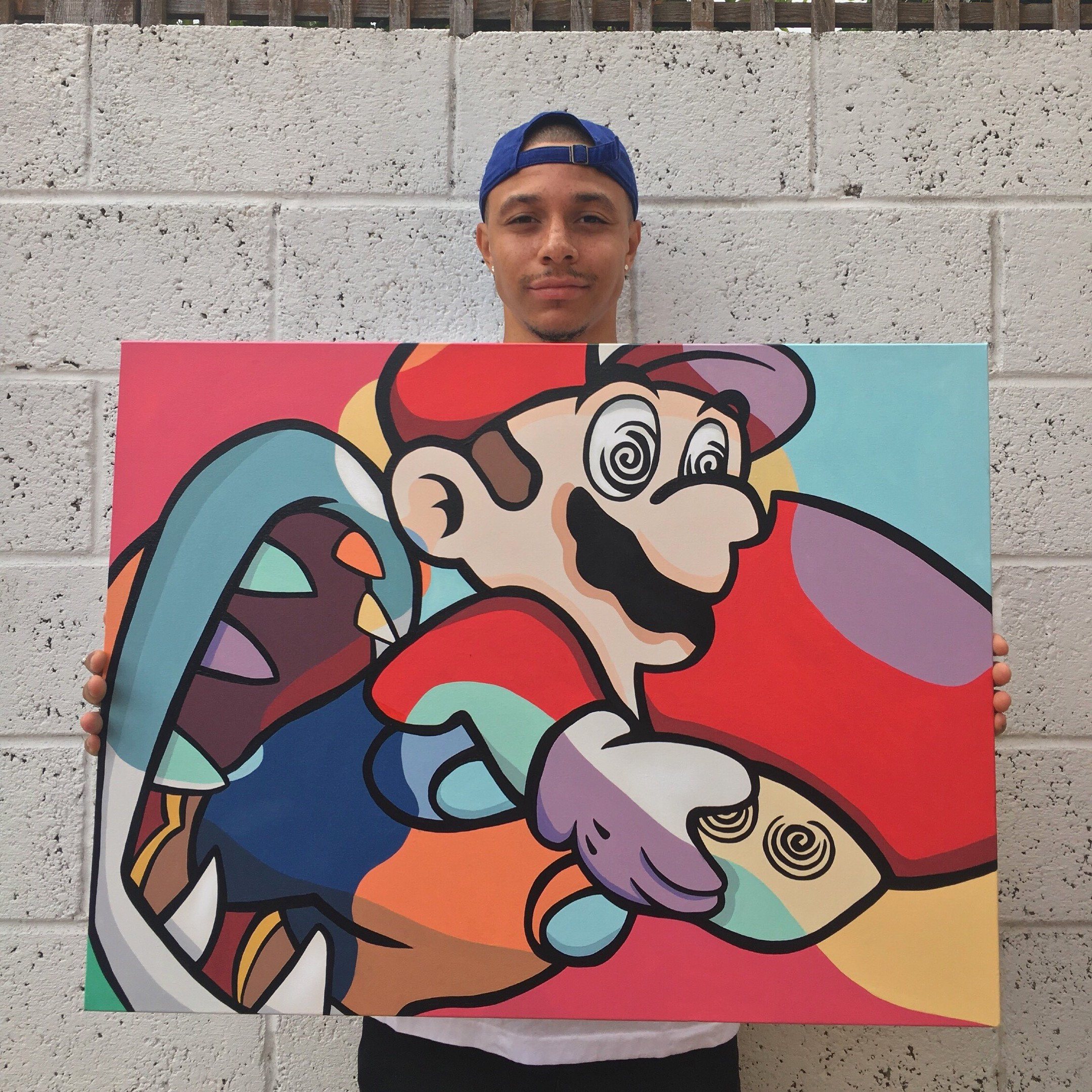 Leighton with one of his pop art creations.