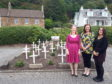 Shirley-Anne Somerville (left), Fiona Thompson (centre) and Yasmine Bazazi (right) at the garden