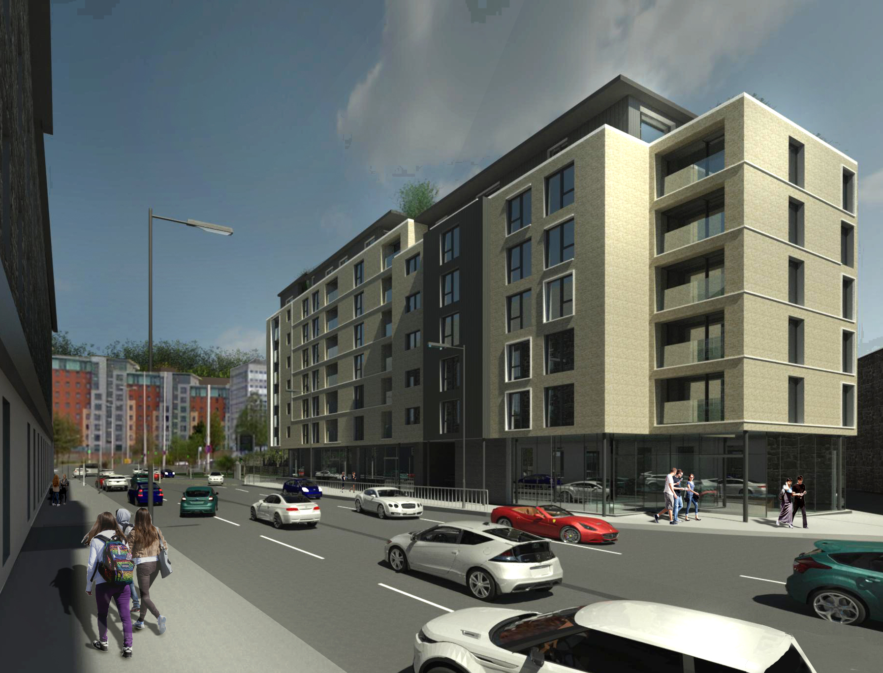 A string of new modern flats are set to be built in Dundee. Pictured:  Designs proposed for 43 flats as well as shops and a restaurant at Marketgait