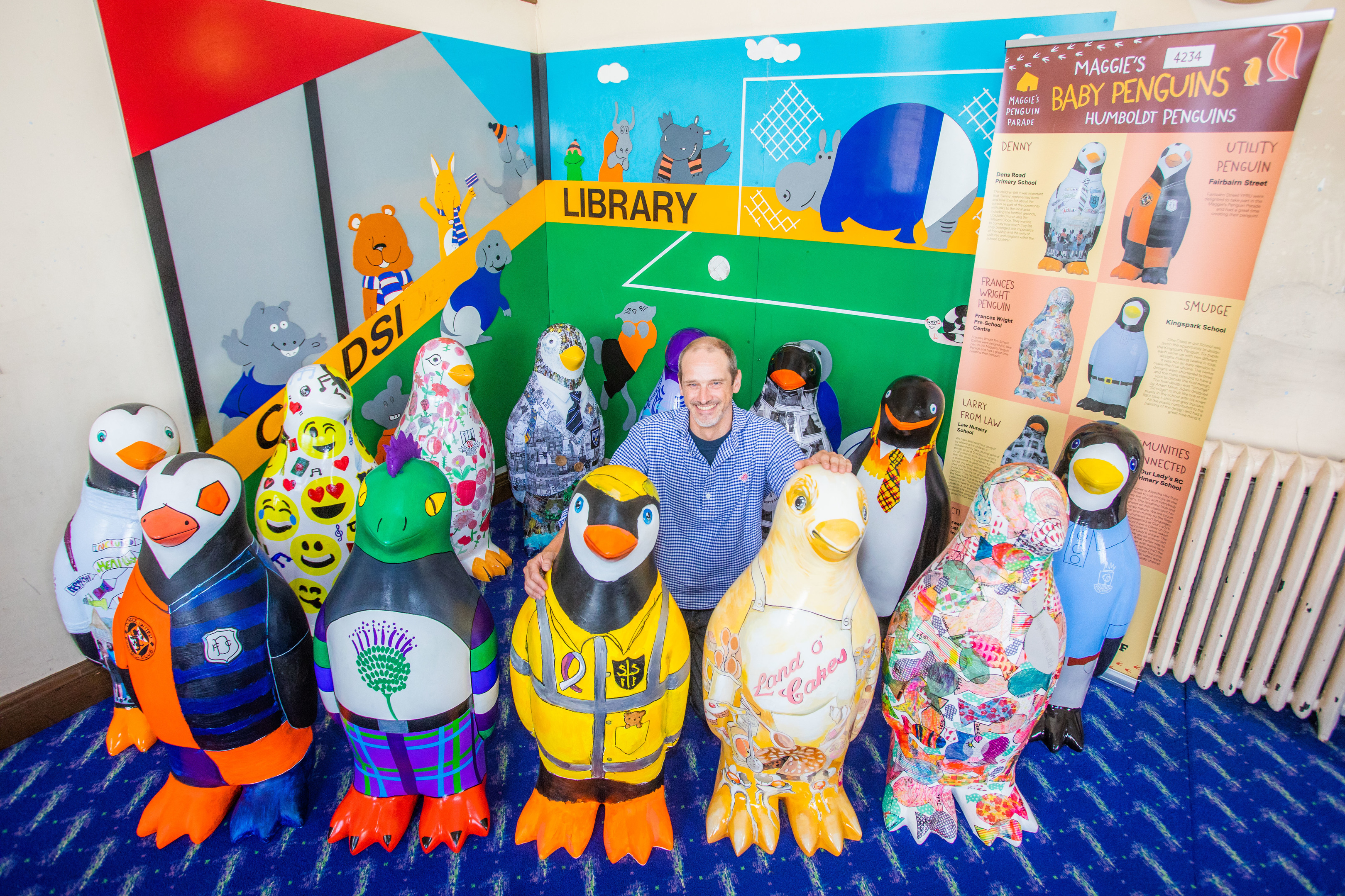 The penguin chicks visited Coldside Library along with project manager Neil Cooney.