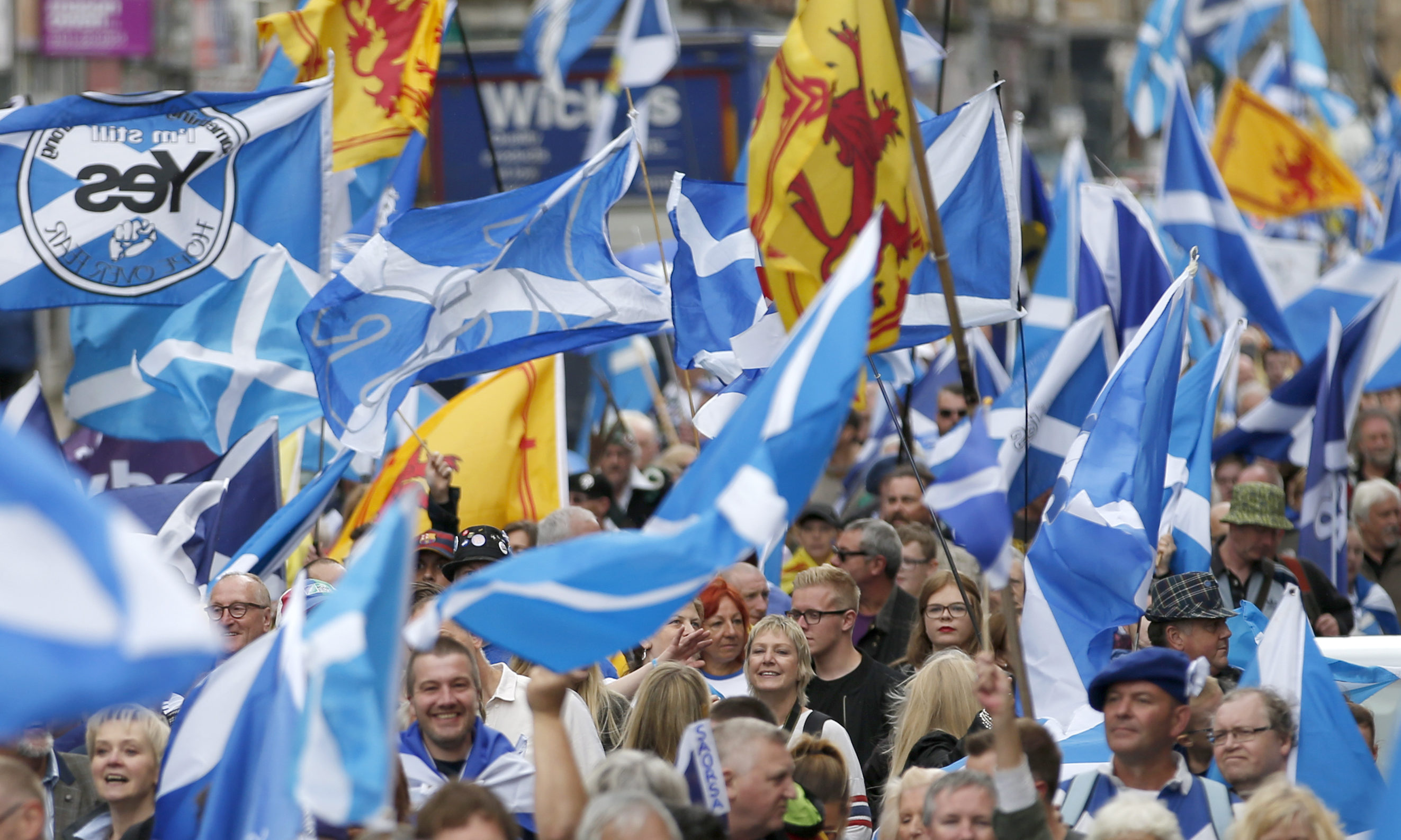 Scottish independence supporters gathered.