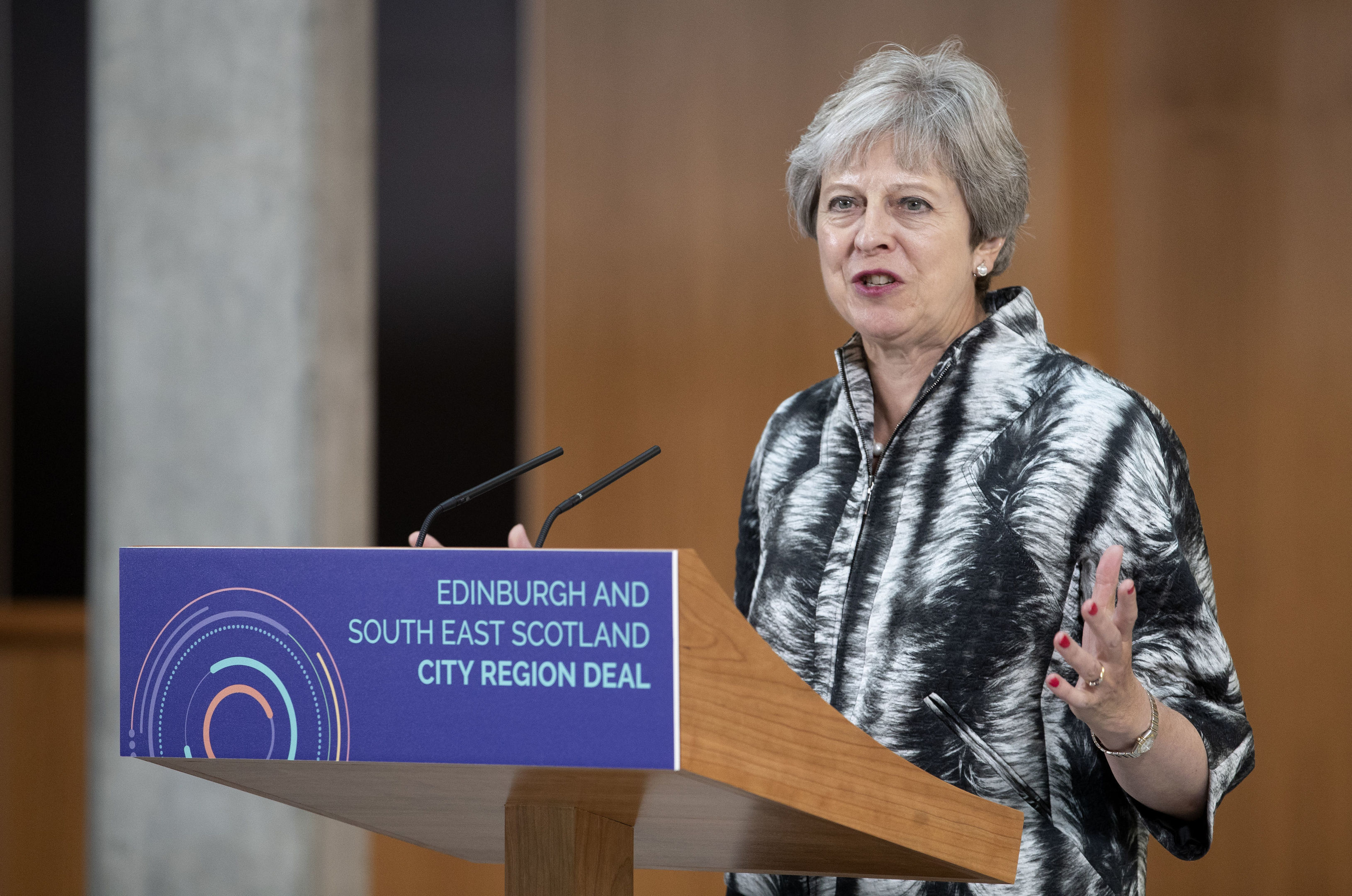 Prime Minister Theresa May speaks at the University of Edinburgh before signing the Edinburgh and South East Scotland City Region Deal
