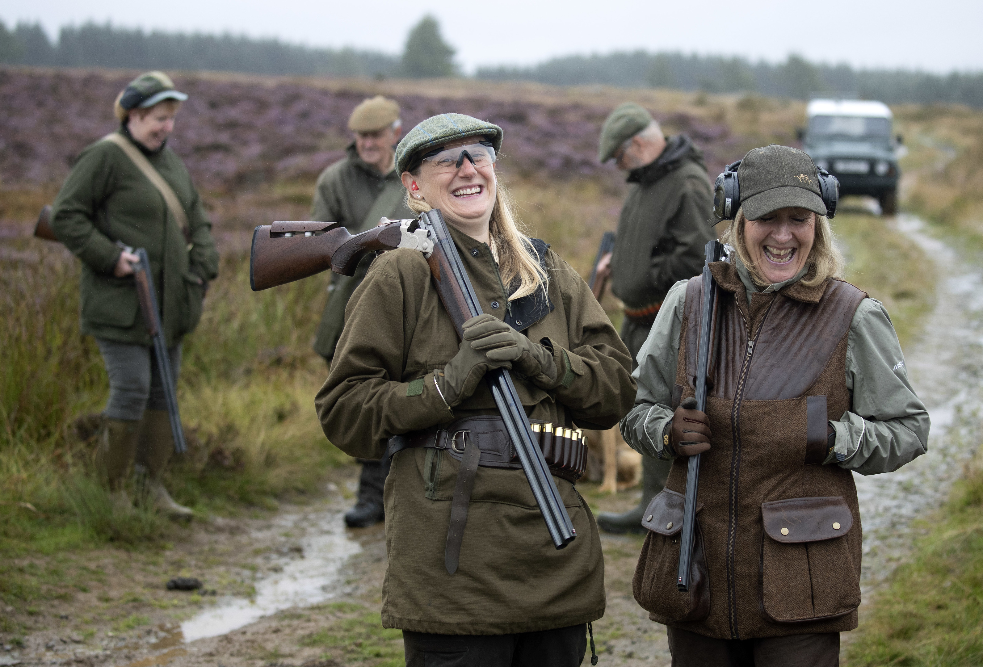 Justine Muir (left) and Sheila Eastwood, marking the start of grouse shooting season on Forneth Moor.