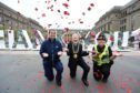 From left: Sarah King from Michelin, Lord Provost Ian Borthwick and PC Victoria O'Neil.