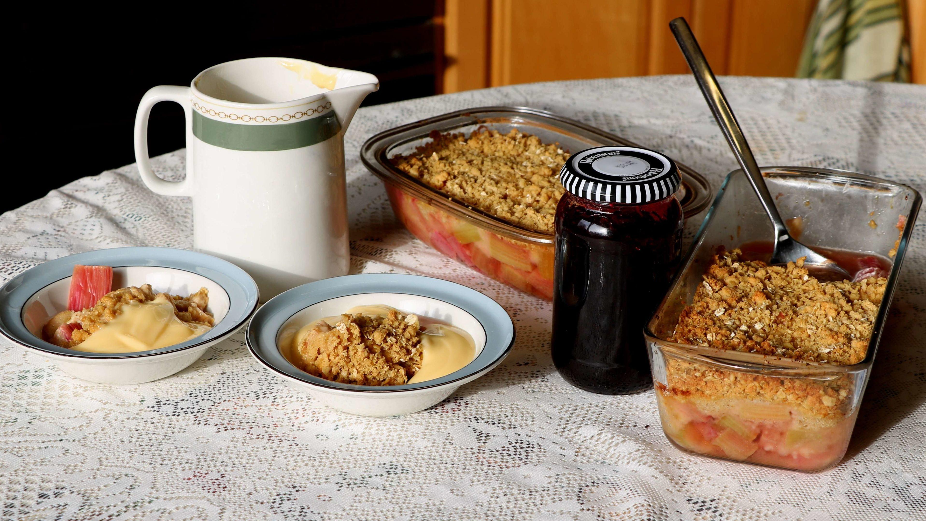 Rhubarb crumble and rhubarb and saskatoon jam