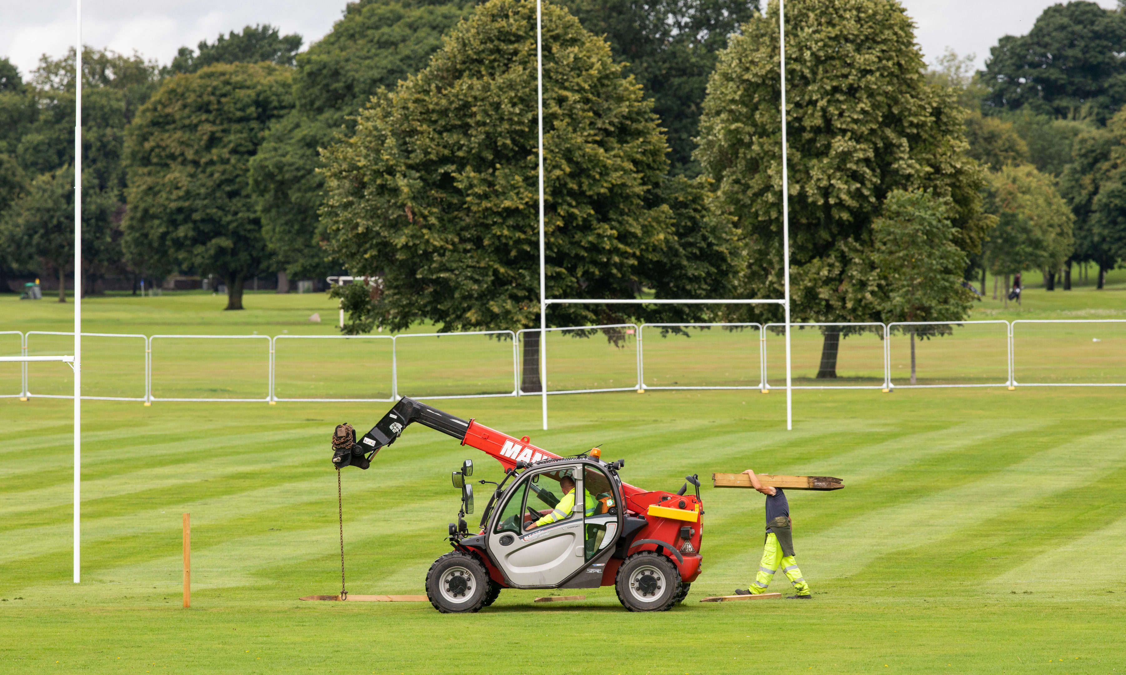 Work has started to erect the pop up stadium for the Glasgow Warriors rugby game in Perth.