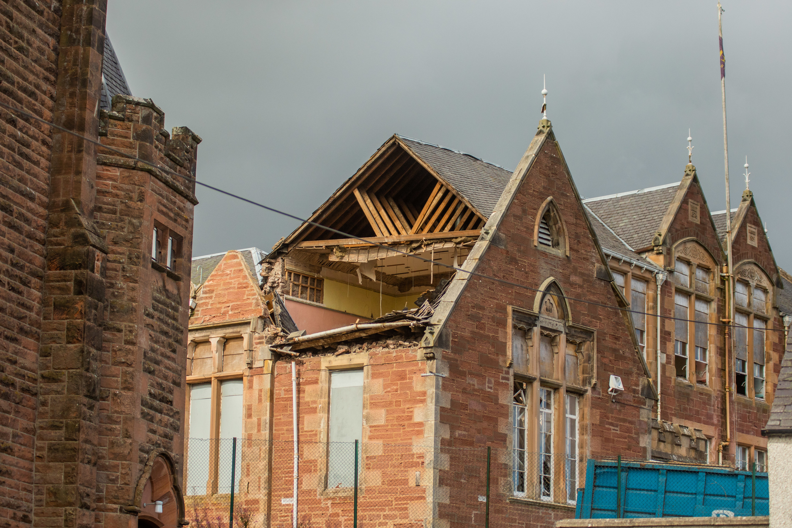 The roof collapsed during high winds.