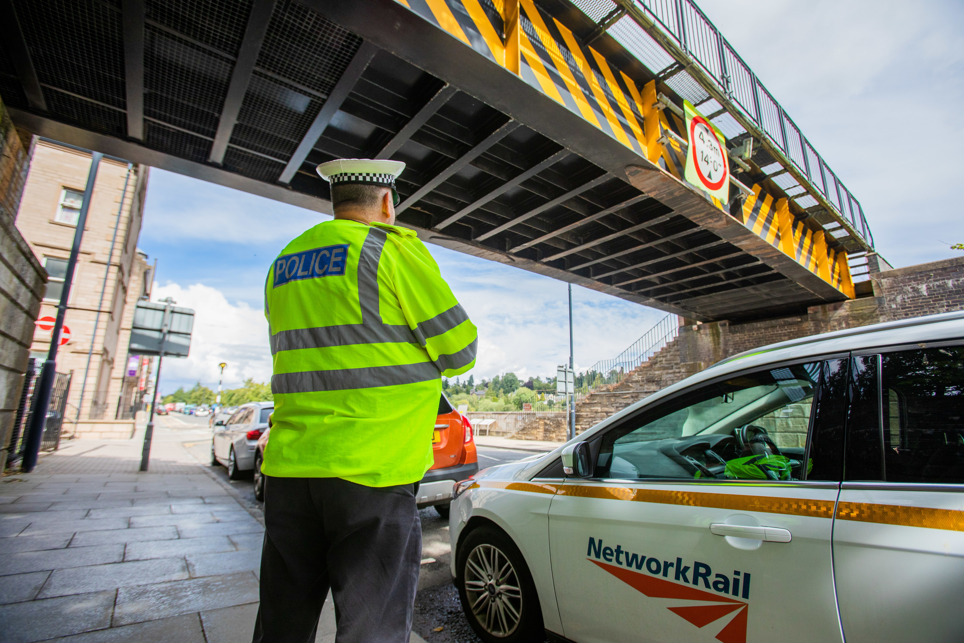 Police and Network Rail at the rail bridge on Tay Street, Perth.